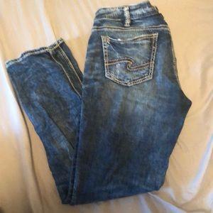 Silver girlfriend jeans.